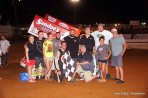 Danny Dietrich with friends in Lincoln Speedway victory lane - Allan Yeager Photo Credit